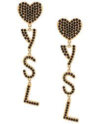 Saint Laurent Earrings Logo Crystals - Geel