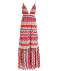 M Missoni Lamé Knitted Dress - Roze
