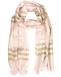 Burberry Lightweight Check Wool Silk Scarf - Roze