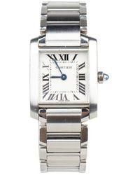 Cartier Tweedehands Tank Française Horloge - Grijs