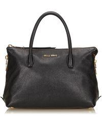 Miu Miu Vintage Leather Handbag - Zwart