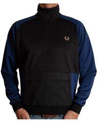 Fred Perry Woven zip track sweatshirt - Negro
