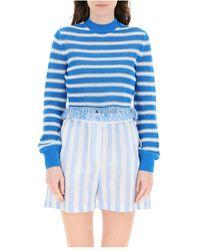 MSGM Fringed striped sweater - Blau