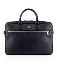 Emporio Armani Briefcase With Logo - Zwart