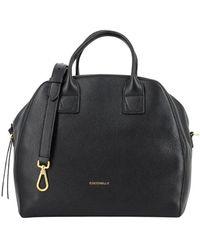 Coccinelle Handbag In Black Hammered Leather - Zwart