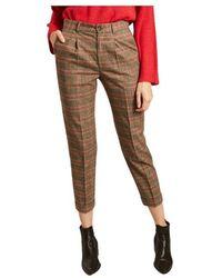 Leon & Harper Prosper 7/8 length checked trousers - Marrone