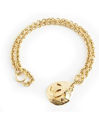 Chanel Vintage Logo Quilted Medallion Mid Long Necklace - Bruin