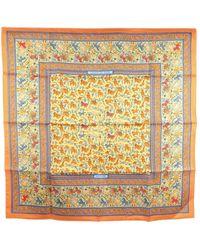 Hermès Chasse En Inde Pleated Silk Scarf Fabric Silk - Oranje