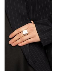 Vetements Brass ring with logo - Gris