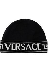 Versace Wol Logo Hat - Zwart