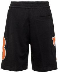 Burberry Shorts with Monogram Negro