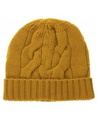 Tagliatore Woollen Hat With Lapels And Cable Knitting - Geel