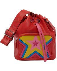 Stella McCartney Bucket bag quilted star - Rojo