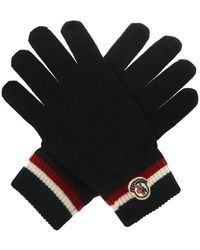 Moncler Wool Gloves With Logo - Blauw