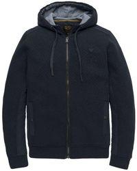 PME LEGEND Zip Jacket Double Knit Texture - Blauw