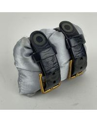 Pollini Leather Double Buckle Coco Adjustable Cuff Bracelet Negro