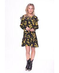 Colourful Rebel Vanessa Flower Mini Ruffle Dress - Zwart