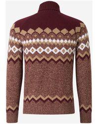 Gran Sasso - Motif Wool Jumper Rojo - Lyst