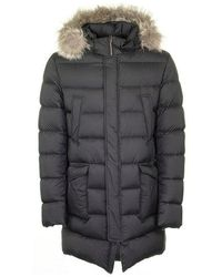Herno Down Jacket With Removable Fur - Blauw