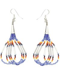 Jessie Western Small beaded earrings - Bleu