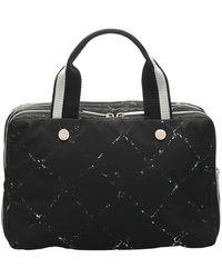 Chanel Vintage Gebrauchte Old Travel Line Nylonhandtasche - Schwarz