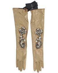 Dolce & Gabbana Elbow Long Gloves - Geel