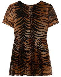 Alix The Label Tiger Crinkle Chiffon Dress Marrón