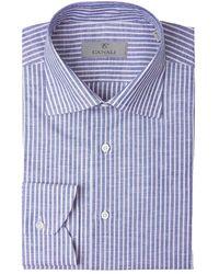 Canali Striped Cotton Shirt - Blauw