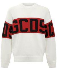 Gcds Sweater with Logo Band - Blanc