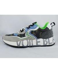 Paul & Shark Sneaker In Velor Net And Nylon Wedge Rubber - Grijs