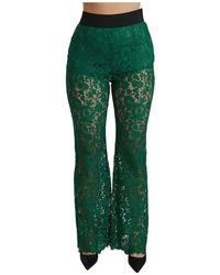 Dolce & Gabbana Pizzo Alto Vita Flared Pants - Verde