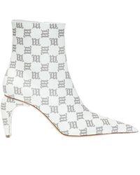 MISBHV 'natalia' Leather Ankle Boots H Logo - Wit