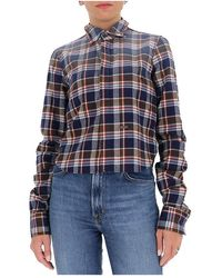 DSquared² Faded-effect flannel shirt Azul