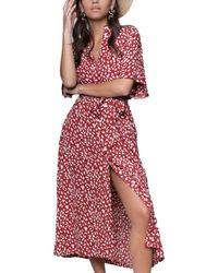 Colourful Rebel Midi dress sia leopard button down - Rojo
