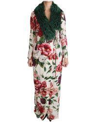 Dolce & Gabbana Floral Shift Pelzmantel Seidenkleid - Weiß