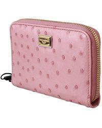 Dolce & Gabbana Ostrich Skin Leather Full Zipper Clutch Wallet Rosa