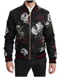 Dolce & Gabbana Bloemen Roses Bomber Gevulde Jacket - Zwart