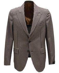 Gabriele Pasini Checkered Patterned Jacket - Bruin