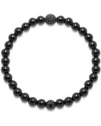 Nialaya Men's Wristband With Agate And Black Cz Diamond - Zwart