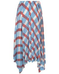 Issey Miyake Long Pleated Skirt A Line Elastic Waist Azul