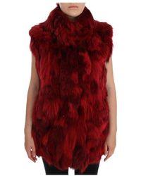 Dolce & Gabbana Coyote Fur Sleeveless Coat Jacket - Rood