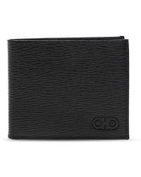 Ferragamo Leather Wallet With Logo - Zwart