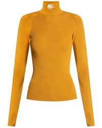 Etro Turtleneck Sweater With Logo - Geel