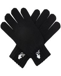 Off-White c/o Virgil Abloh Wool Gloves With Logo - Zwart
