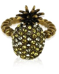 Gucci Gold Embellished Crystal Pineapple Ring Size M Never Worn - Geel