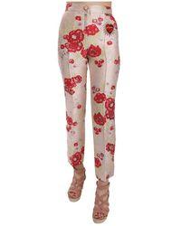 Dolce & Gabbana Brocade Trousers Pink Pants - Roze