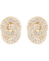 Alessandra Rich Crystal Chain Clips - Naturel