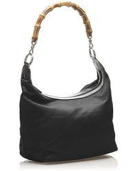 Gucci Bamboo Nylon Shoulder Bag Fabric Negro