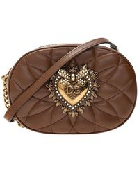 Dolce & Gabbana Devotion Quilted Shoulder Bag - Bruin
