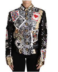 Dolce & Gabbana Black Crystal Card Deck Queen Jacket - Zwart